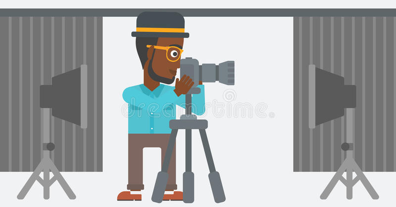 Photographer working with camera on a tripod. An african-american photographer working with camera on the background of photo studio with lighting equipment vector illustration