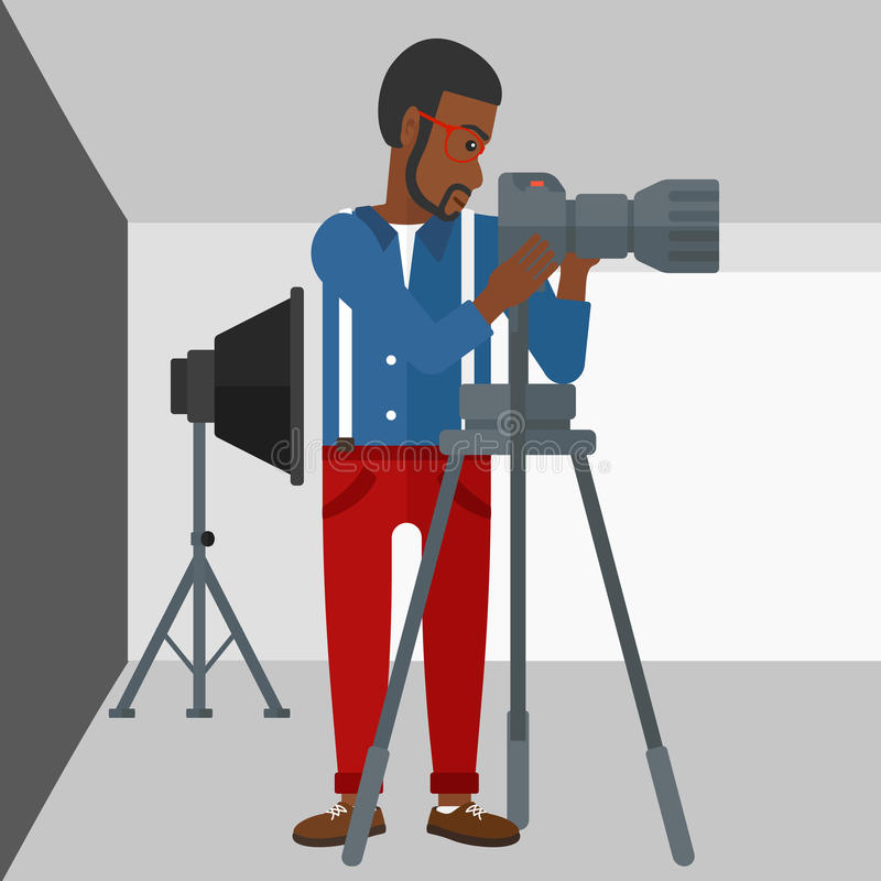 Photographer working with camera on a tripod. An african-american man working with camera on the background of photo studio with lighting equipment vector flat stock illustration