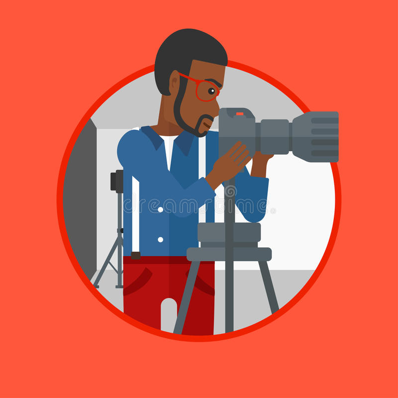 Photographer working with camera on tripod. An african-american photographer working with camera on a tripod in photo studio. Photographer using camera in the vector illustration