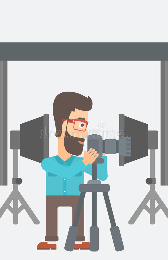 Photographer working with camera on a tripod. A hipster photographer with the beard working with camera on the background of photo studio with lighting vector illustration