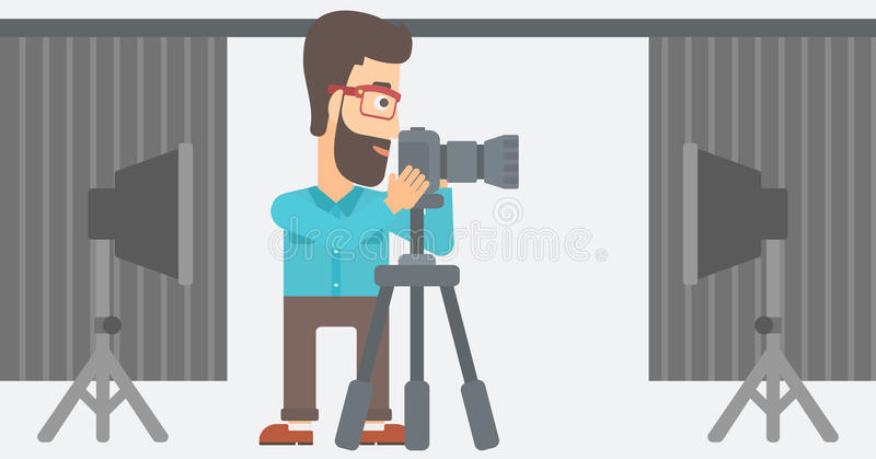 Photographer working with camera on a tripod. vector illustration