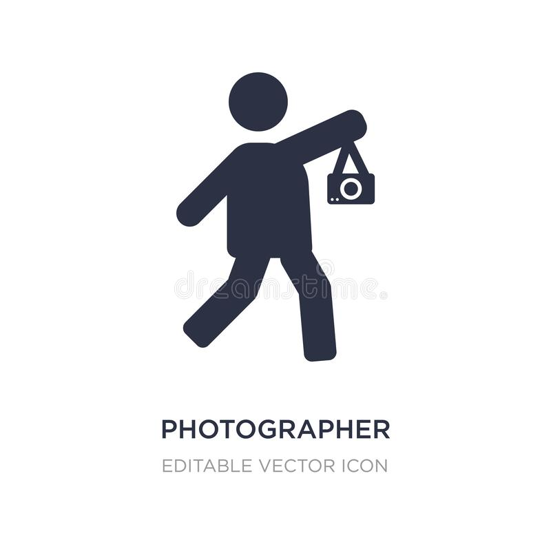 Photographer working icon on white background. Simple element illustration from People concept. Photographer working icon symbol design vector illustration