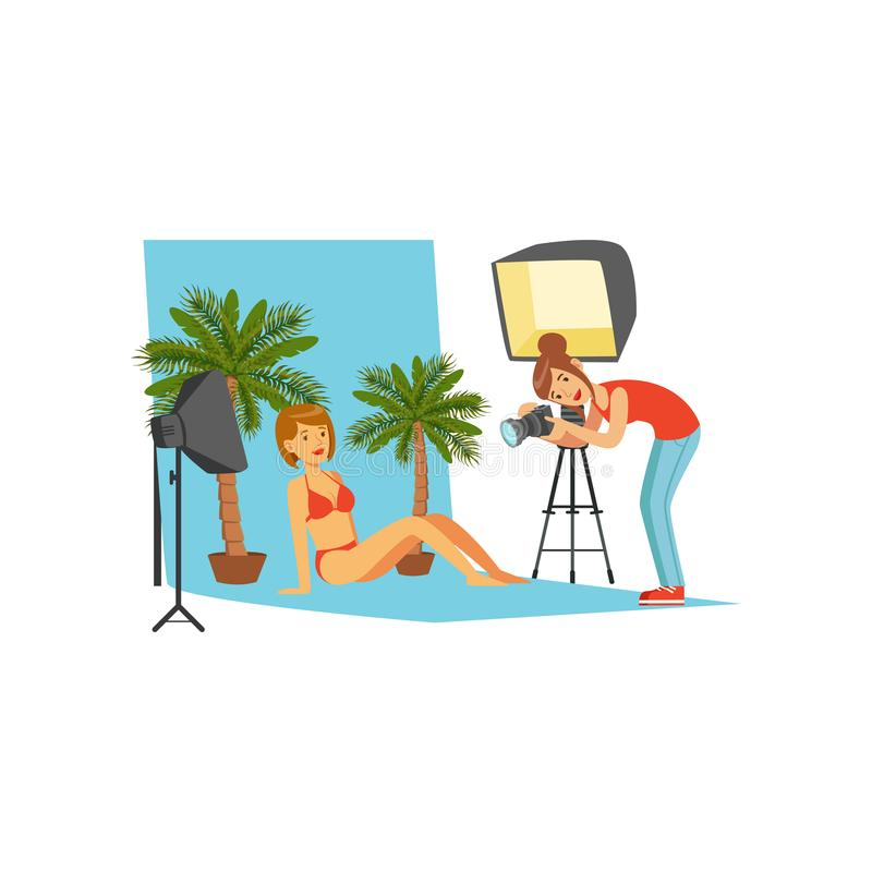 Photographer working with model in studio with professional equipment and decorations. Girl in bikini. Cartoon flat vector illustration