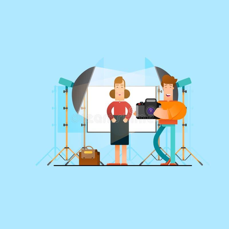 Photographer working with model in studio. - Vector. Illustration stock illustration