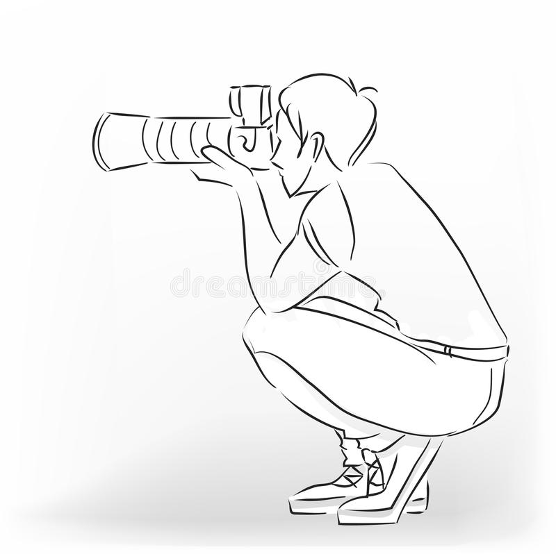 Photographer. The young photographer man squats and photographs by means of the professional camera. Vector modern black and white image drawing by lines stock illustration