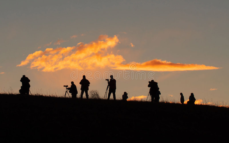 Photographers. Are wailting for the light of sunrise stock photos