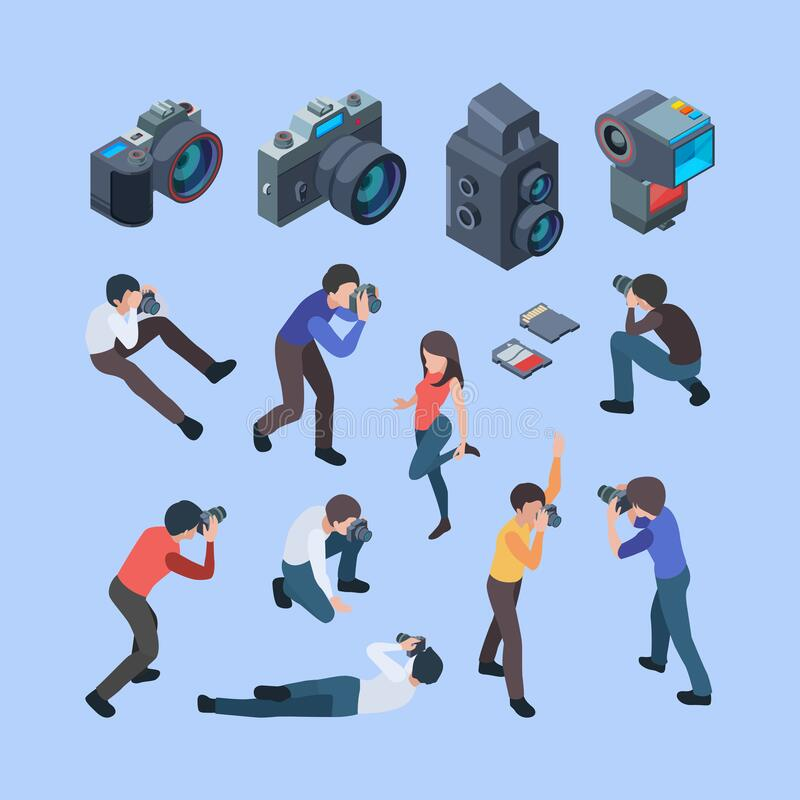Photographers. Fashion photo shoot cinema camera professional digital people artists working making pictures or film. Vector isometric. Photographer with camera royalty free illustration