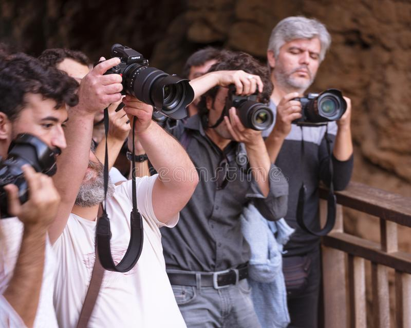 Photographers paparazzi are shooting with the professional camera - Antalya, Turkey, 30.10.18 royalty free stock photography
