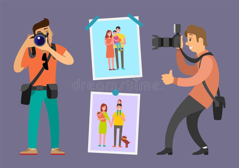 Photographers Portfolio Work Samples on Pictures. Photographers portfolio samples of works on family pictures with mother, father, child and pet. Professional stock illustration
