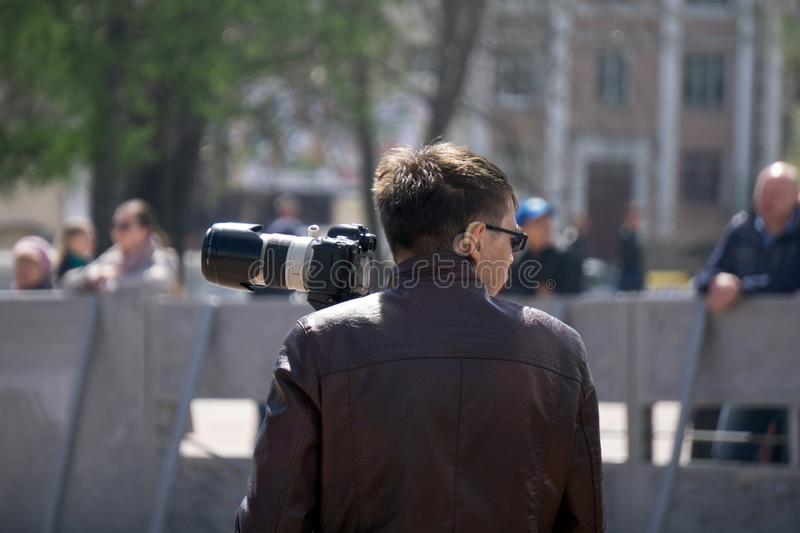 Photographers shooting in city scenary . Russia Berezniki 26 may 2019 royalty free stock photos