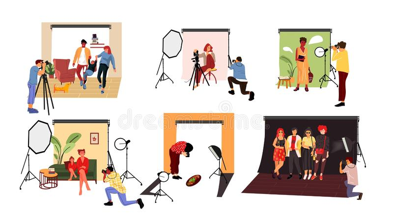 Photographers in studio. Cartoon models working at photo studio in different poses and with costumes. Vector couple and royalty free illustration