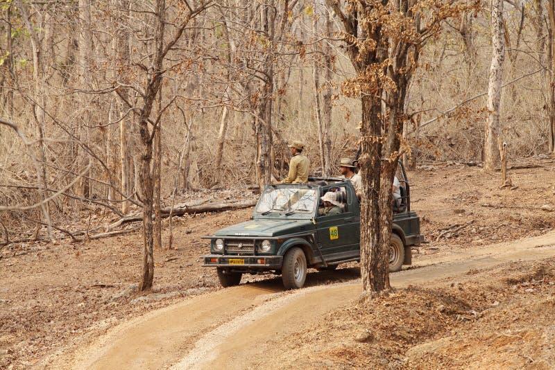 Photographes attendant ardemment la visée de tigre dans la réservation de tigre de Pench photo libre de droits