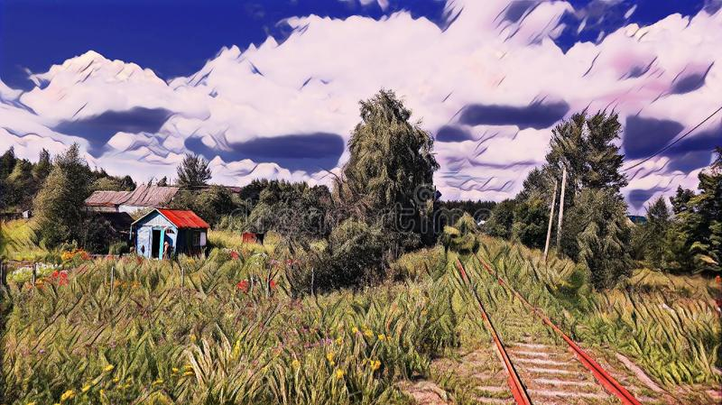 Photographic art picture of abandoned rusty railway road in countryside of Vladimir district under blue cloudy sky vector illustration