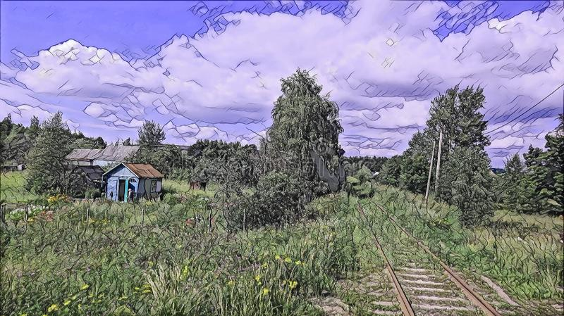 Photographic art picture of abandoned rusty railway road in countryside of Vladimir district under blue cloudy sky stock illustration