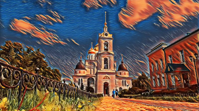 Photographic art picture of golden cupola of bell tower of orthodox church of Dmitrov Kremlin under blue summer sky. Photographic art picture of golden cupola of royalty free illustration