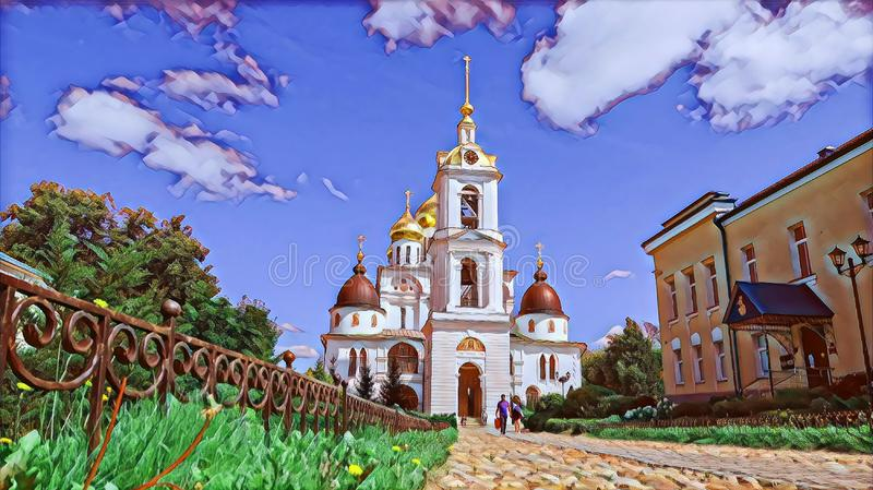 Photographic art picture of golden cupola of bell tower of orthodox church of Dmitrov Kremlin under blue summer sky. Photographic art picture of golden cupola of stock illustration