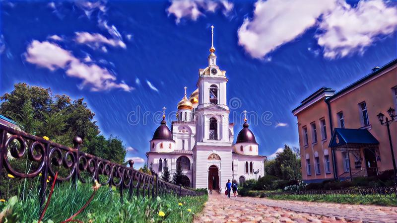 Photographic art picture of golden cupola of bell tower of orthodox church of Dmitrov Kremlin under blue summer sky. Photographic art picture of golden cupola of vector illustration