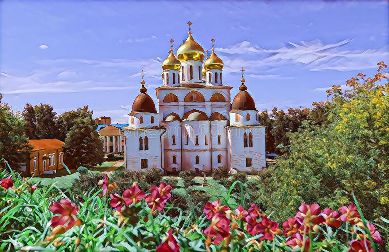 Photographic art picture of shining golden cupola of orthodox church of Dmitrov Kremlin under blue sky. Photographic art picture of shining golden cupola of royalty free illustration