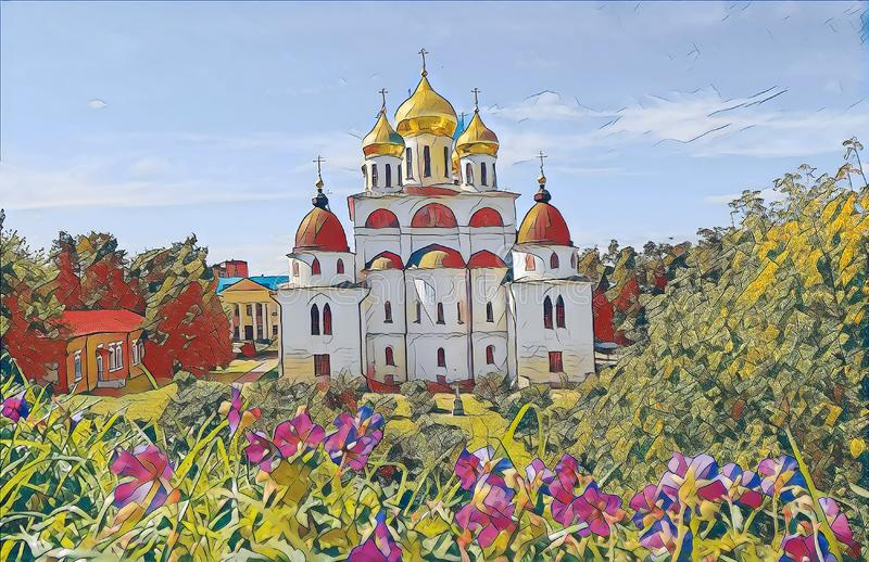 Photographic art picture of shining golden cupola of orthodox church of Dmitrov Kremlin under blue sky. Photographic art picture of shining golden cupola of vector illustration