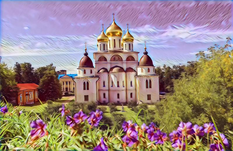 Photographic art picture of shining golden cupola of orthodox church of Dmitrov Kremlin under blue sky. Photographic art picture of shining golden cupola of stock illustration