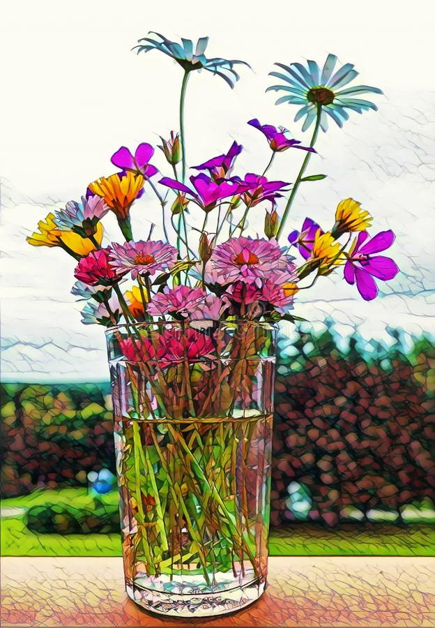 Photographic art picture of various wild summer flowers in facetted glass with spring water. Wild summer flowers in facetted glass with spring water stock illustration