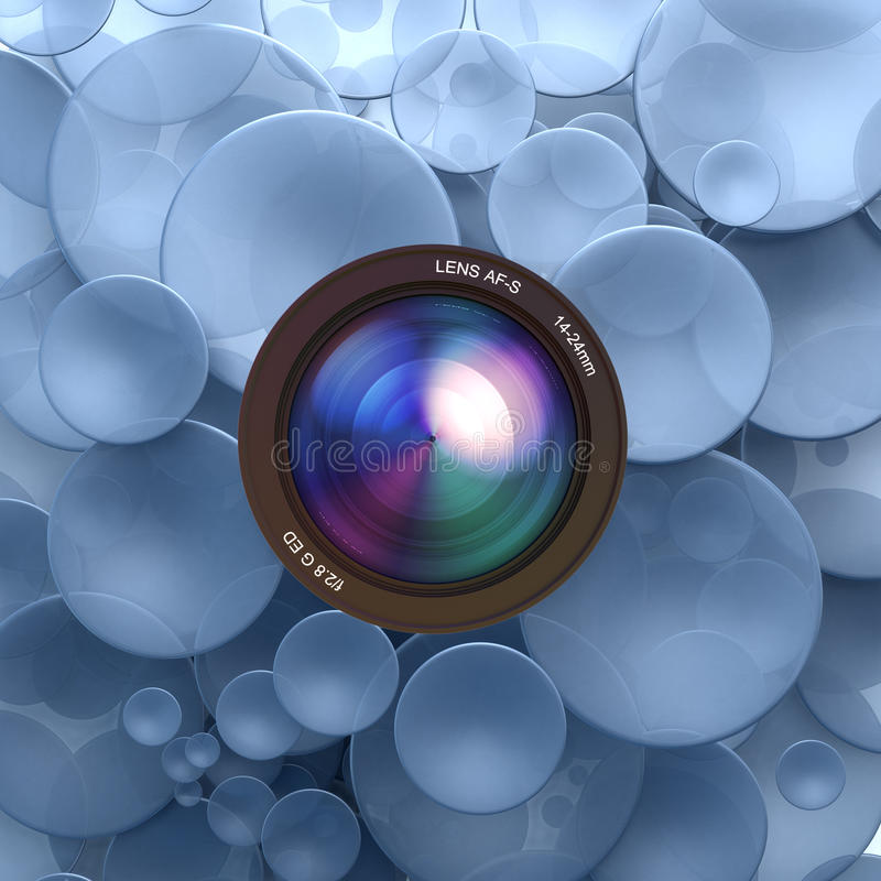 Photographic blue background. Blue disks and a camera lens vector illustration