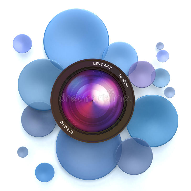 Photographic blue background. Blue disks and a camera lens stock illustration