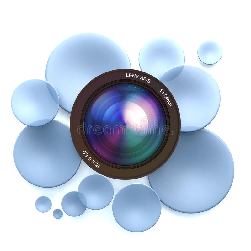 Photographic blue background. Blue disks and a camera lens royalty free illustration