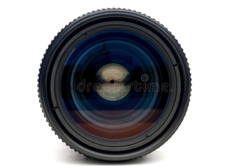 A photographic camera lens. A horizontal closeup of a photographic camera lens on white royalty free stock images