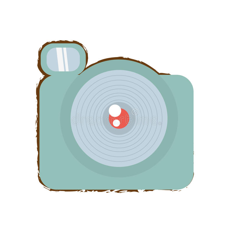 Photographic camera picture travel equipment color sketch. Illustration eps 10 royalty free illustration