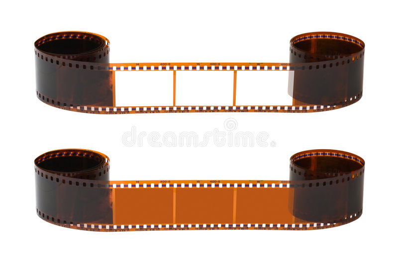 Photographic film. Isolated on white background stock photography