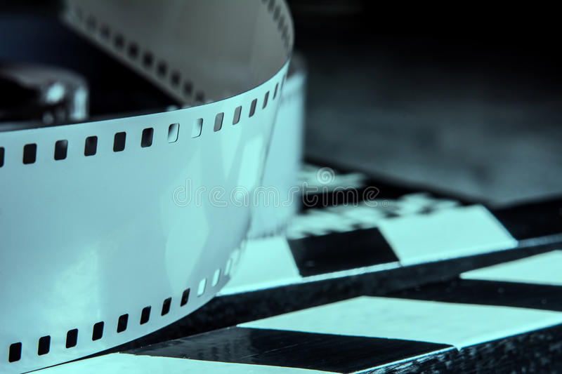 Photographic film. Movie clapper for shooting Films.  stock image