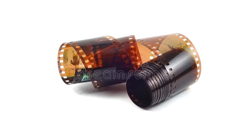 Photographic film on a white background royalty free stock images