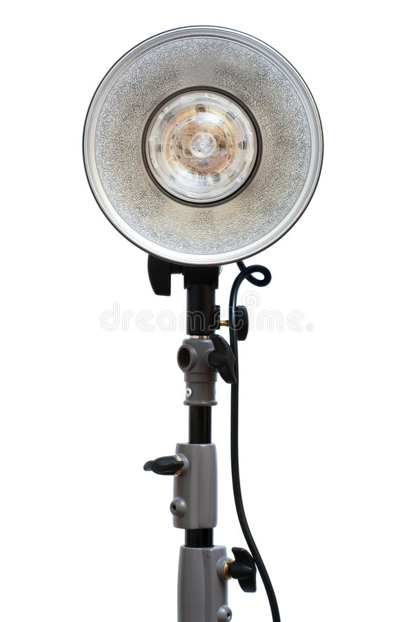 Photographic flash. Modern powerful photographic flash on a white background stock photography