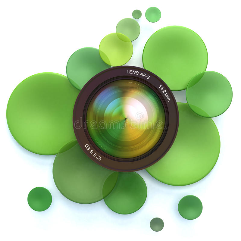 Photographic green background. Green disks and a camera lens vector illustration