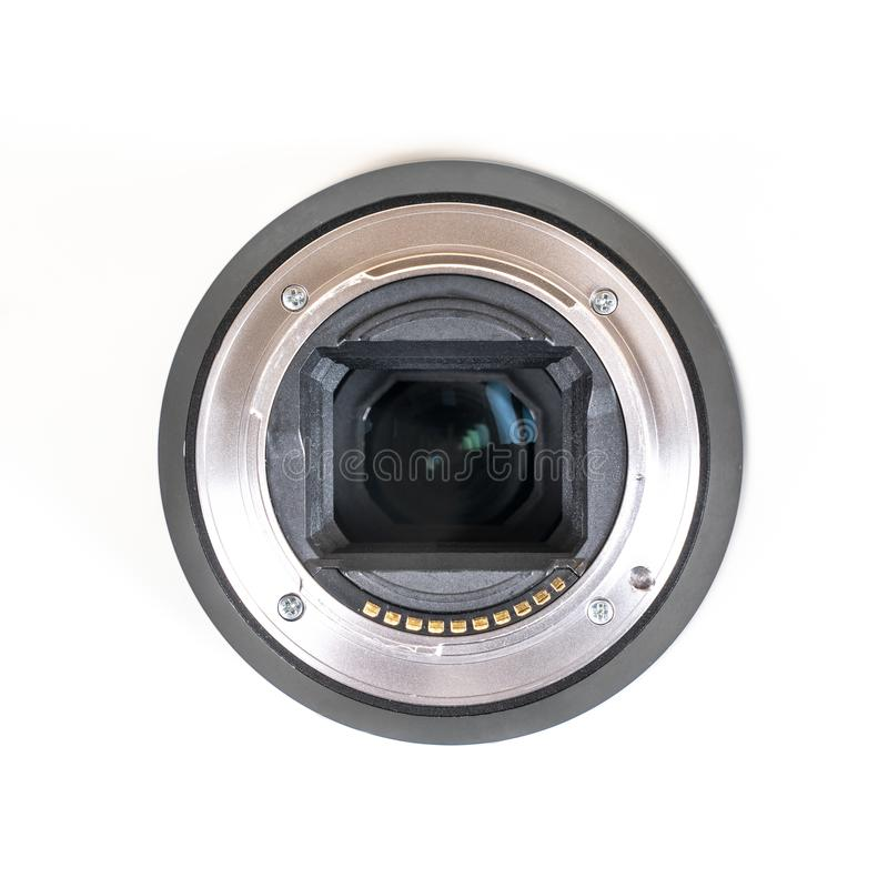 Photographic lens. The metal attack of a photographic lens royalty free stock image