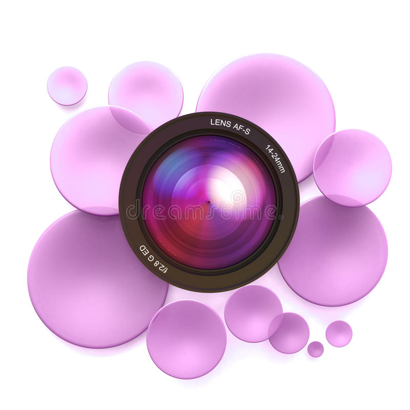 Photographic pink background. Pink disks and a camera lens royalty free illustration