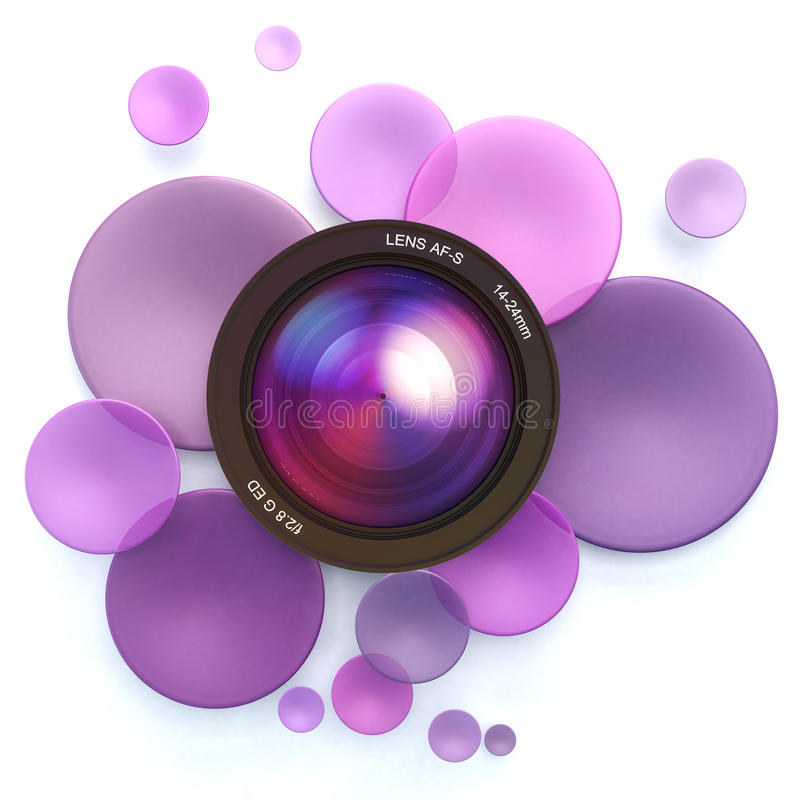 Photographic pink background. Pink disks and a camera lens vector illustration