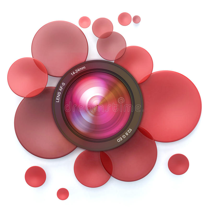 Photographic red background. Red disks and a camera lens royalty free illustration