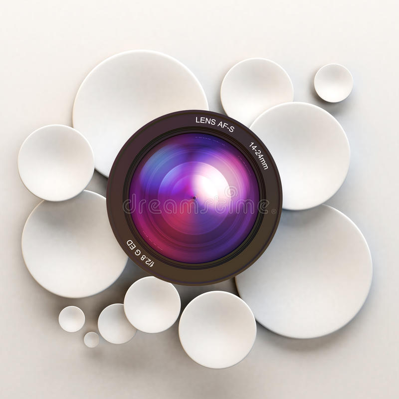 Photographic white background. White disks and a camera lens stock illustration