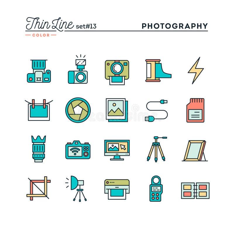 Photographie, équipement, courrier-production, impression et plus, minces illustration libre de droits