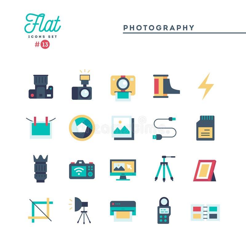 Photographie, équipement, courrier-production, impression et plus, plats illustration libre de droits