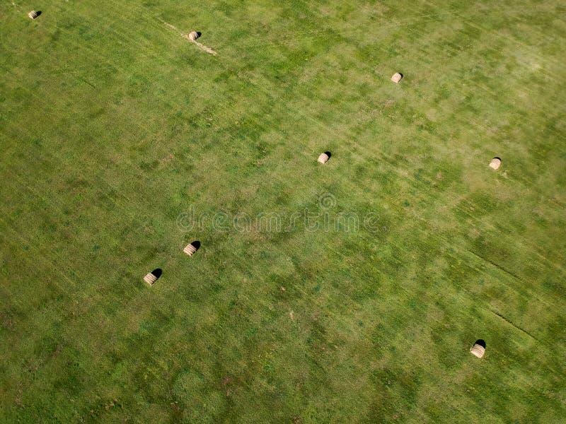 Photographie aérienne de gisement de balle de foin dans l'agriculture du Dakota du Sud photo libre de droits