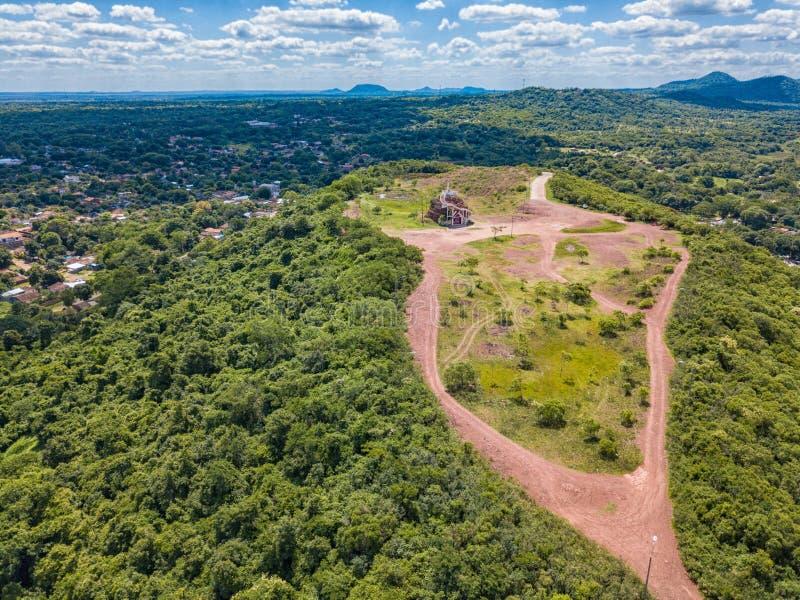Photographie aérienne de la plate-forme d'observation à Cerro Pero au Paraguay photos stock