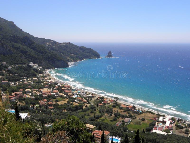 Photographie d'air, île de Corfou, Grèce image stock