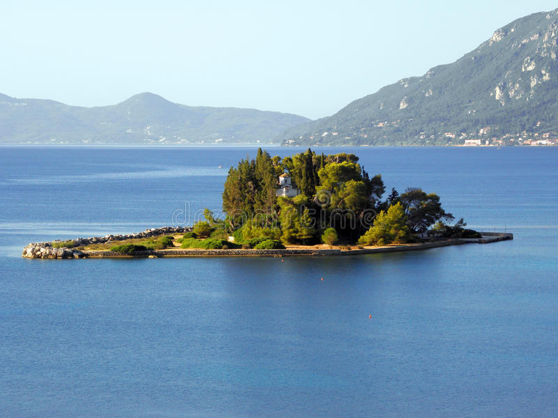 Photographie d'air, île de Corfou, Grèce images stock