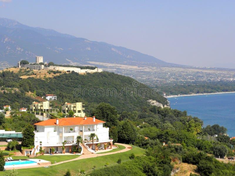 Photographie d'air, Platamonas, Grèce image libre de droits
