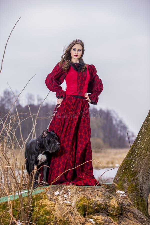 Photographie d'art Belle princesse féerique dans la robe rouge avec la couronne et son chien sur la laisse dans la forêt sur la c photographie stock libre de droits