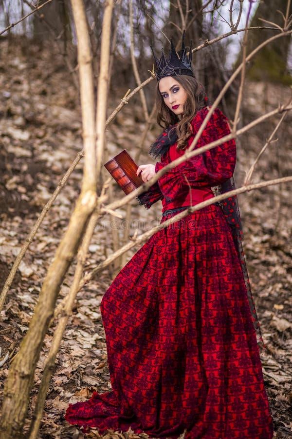 Photographie d'art Madame féerique mystérieuse dans la robe rouge et la couronne noire avec le vieux livre Pose en Forest Outdoor images libres de droits