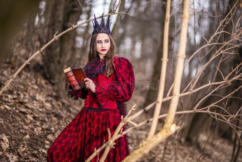 Photographie d'art Madame féerique mystérieuse dans la robe rouge et la couronne noire avec le vieux livre Pose en Forest Outdoor photographie stock